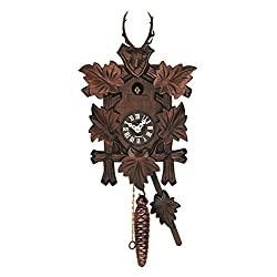 River City Clocks Quarter Call Cuckoo Clock with Hand Carved Hunter's Five Leaves and Buck