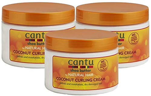 Cantu Shea Butter for Natural Hair Coconut Curling Cream 12 oz. (Pack of 3)