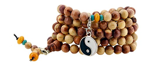 Tibetan 108 Zen Buddhist Wooden Mala Prayer Beads Necklace Wrap Bracelet (Yin Yang)