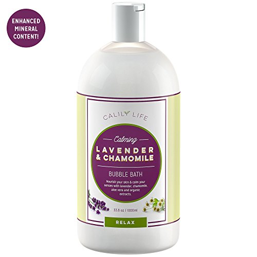 Lavender Chamomile Organic Liquid - Calily Life Organic Aromatherapy Lavender and Chamomile Bubble Bath, Soak and Wash, 33. 8 Oz. – Relaxes, Soothes and Nourishes - With Pure Essential Oils; Lavender, Chamomile & Aloe Vera [ENHANCED]