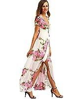 Milumia Women's Vintage Floral Print Boho Split Wrap Slim Dress (small) (pink)