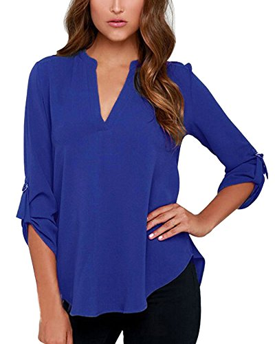 FACE N FACE Women's Summer V Neck Solid Loose Casual Cuffed Long Sleeve Blouses Large Blue from FACE N FACE