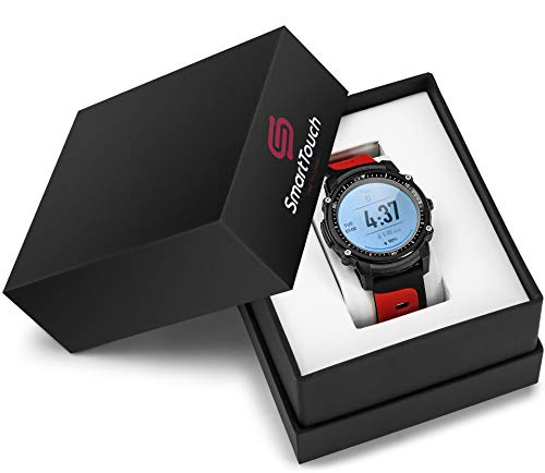 Smart Touch FS08 Swim Smart Watch (Android, iOS) Touchscreen, GPS Bluetooth Fitness Tracker | IP68 Waterproof Pedometer, Altimeter, HR Monitor | Running, Cycling, Hiking, Sports | Men, Women (Red)