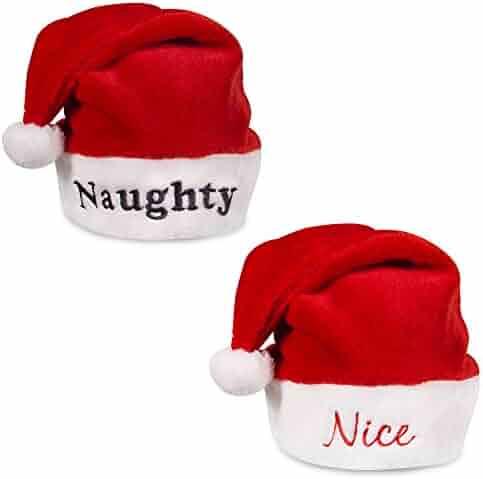 cee9436605d62 Naughty and Nice Plush Red Holiday Christmas Santa Hats (Naughty   Nice)