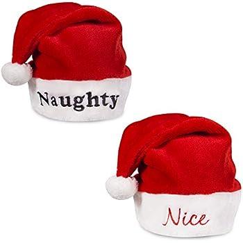 3e0ed2ac693 Naughty and Nice Plush Red Holiday Christmas Santa Hats (Naughty   Nice)