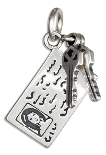 Sterling Silver Car Keys with Drivers License (Sterling Silver Car Charm)