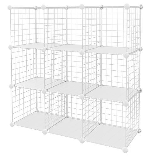 "SONGMICS Metal Wire Cube Storage,9-Cube Shelves Organizer,Stackable Storage Bins, Modular Bookcase, DIY Closet Cabinet Shelf, 36.6""L x 12.2""W x 36.6""H, White ULPI115W"