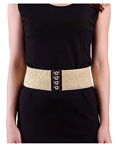 Womens Wide Elastic Waist Belt for Dresses Waistband Trimmer Stretch Cinch Belt ()