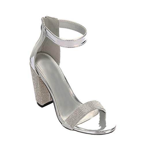 ARIES Womens Ankle Strap Chunky Block High Heel Sandals Cute high Heels 10 B(M) US Silver ()