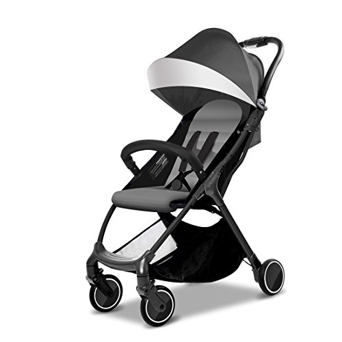 New Style – babysing Summer Stroller can sit Reclining Travel Artifact Lightweight one-Button Folding Baby Child Umbrella can take The Plane (Deep Black Color)