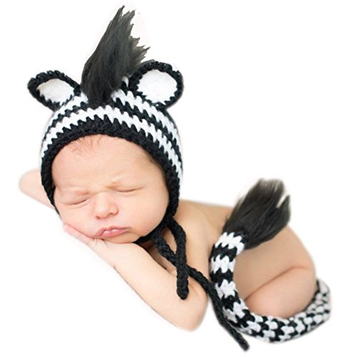 Zebra Costumes Baby (Fashion Cute Unisex Newborn Boy Girl Baby Photography Props Outfits Zebra Hat Tail)