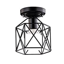 BAYCHEER HL428266 Industrial Vintage Style Square Semi Flush Mount Ceiling Light with Cage use 1 E26 Bulb in Black
