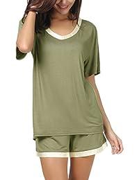 Women Short Sleeve T Shirt and Shorts Pajamas Sleepwear Set Loungewear