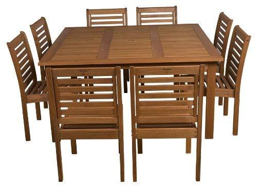 Amazonia 9-Piece Eucalyptus Armless Square Dining Set (8 Piece Miami Set Patio)