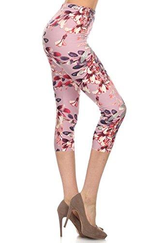 R591-CA-PLUS Lilac in Bloom Capri Print Leggings