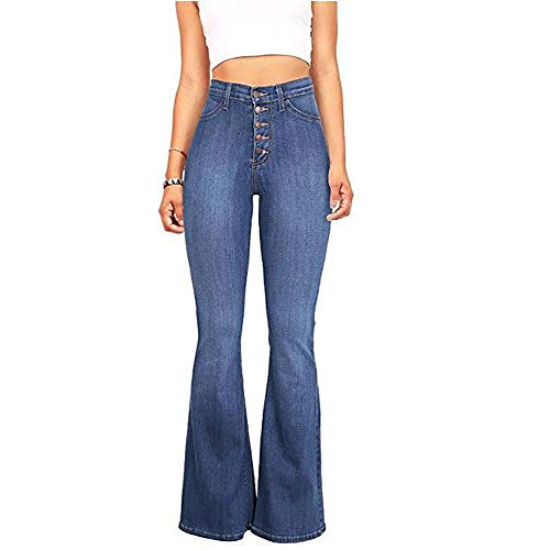 s Stretch Slim Fit High-Waisted Button Fly Flowy Wide Leg Flared Jeans Bell Bottom Denim Pants Blue S ()