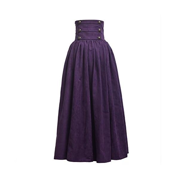 BLESSUME Gothic Skirt Lolita Steampunk High Waist Walking Skirt 3