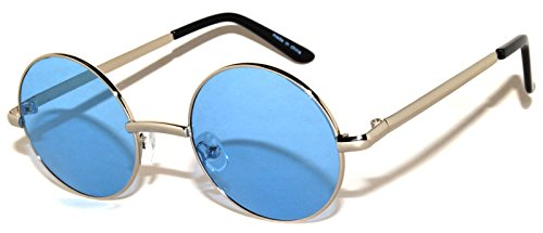 Round Retro Vintage Circle Style Sunglasses Blue Lens Silver Metal - Blue Circle Lenses