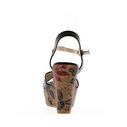 Sandales compensées noires à talon de 11cm et plateau