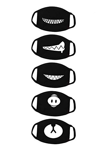 Bestsupplier 5 Pack Teeth Pattern Cute Unisex Cotton Blend Anti Dust Face Mouth Mask Black for Man Woman
