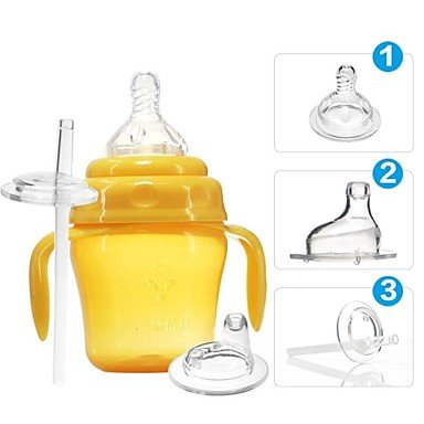 Kitchen boutique convenience and durability 150ML Baby Sippy Training Drinking Cup Suit with Handle and Straw (1-3 Stages),Orange