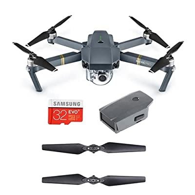 DJI Mavic Pro with Remote Controller - Bundle With DJI Intelligent Flight Battery, 32GB MIcroSDHC Card, Quick-Release Folding Propellers Pair