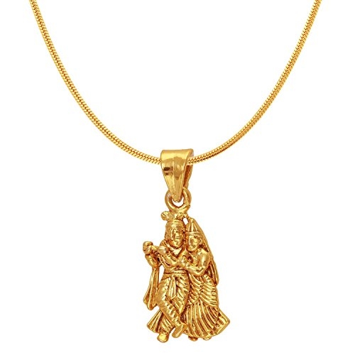 Mahi Exa Collection Radha Krishna Gold Plated Religious God Pendant with Chain for Men & Women PS6012004G