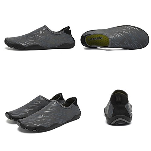 FANTINY Men and Women's Barefoot Quick-Dry Water Sports Aqua Shoes with 14 Drainage Holes for Swim, Walking, Yoga, Lake, Beach, Garden, Park, Driving, Boating,SVD,Grey,46 3