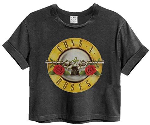 Official Amplified Guns N Roses Bullet Logo Womens Cropped T-Shirt (Medium) - Logo Crop