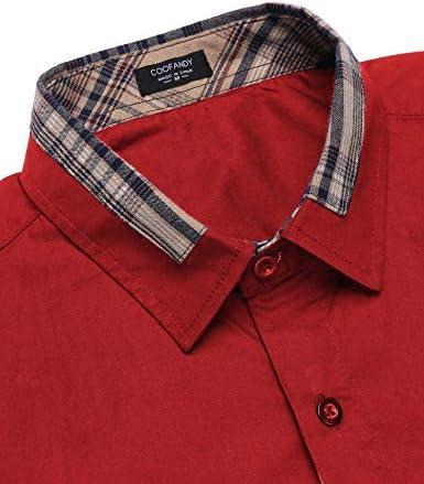 COOFANDY Men's Casual Cotton Long Sleeve Dress Shirt Plaid Collar Slim Fit Button Down Shirt