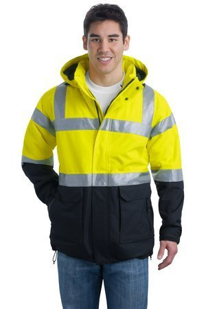 (Port Authority Men's Big ANSI Class 3 Safety Heavyweight Parka - Safety Yellow/ Black/Reflective - Large)