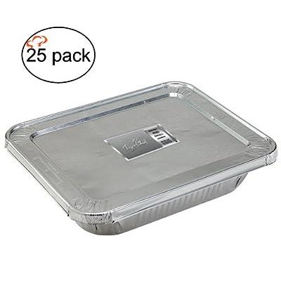 TigerChef Durable Aluminum Oblong Foil Cake Pan Containers with Foil Lids