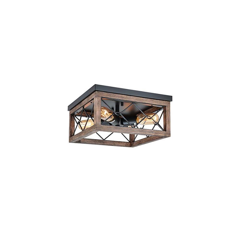Eyassi Wooden Flush Mount Ceiling Lights, 4-Light Industrial Farmhouse Ceiling Light Fixture, Black Metal Close to…