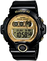 Casio Womens BG6901-1 Baby-G Black Resin and Gold-Tone Accented Large Digital Sport Watch