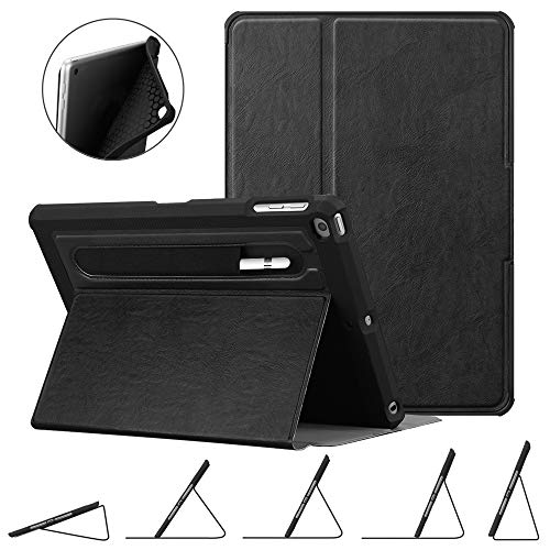 Fintie Case for iPad 9.7 2018 2017 / iPad Air 2 / iPad Air - [Corner Protection] Multi-Angle Viewing Rugged Soft TPU Back Cover w/ [Secure Pencil Holder] Auto Sleep/Wake, Classic Black (With Cover Ipad 2 Stylus)