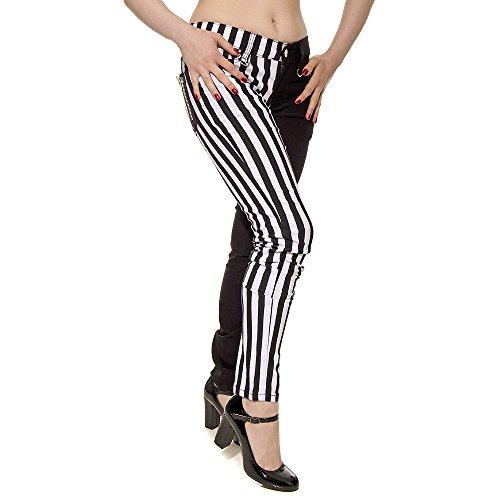 Rayas Con Pantalón De Pitillo Una Color Pierna Blanco Para Banned A Y Mujer Negro Ra0c7aqW