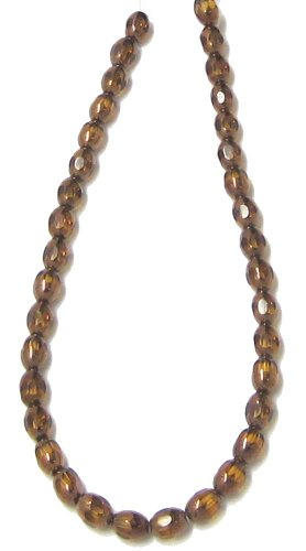Bead Collection 40396 Glass Faceted Amber Oval Beads, 10-Inch