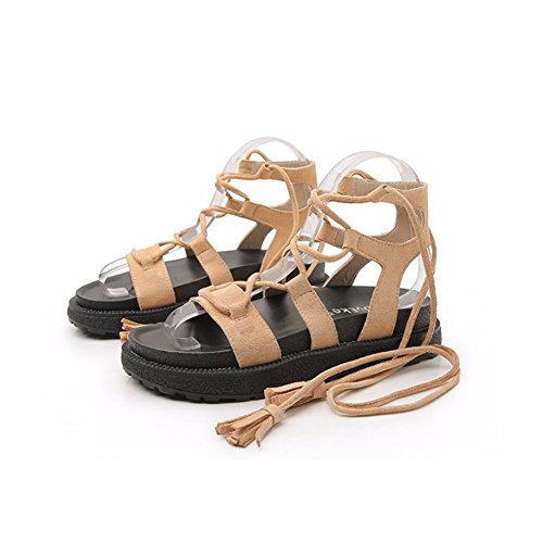 Criss Flat Lace Sandals Strappy up Slippers Shoes Open Women's Toe Hollow Ankle apricot Cross JULY Out Gladiator Strap T vqP6Ynv