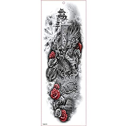 yyyDL Etiqueta engomada del tatuajeGran brazo de la manga del ...