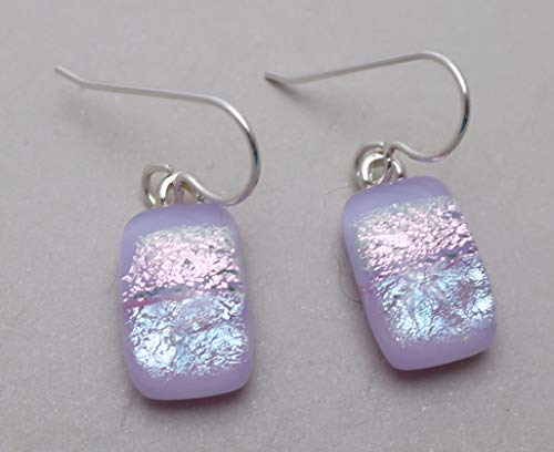Fused Modern Petite Lavender Pink dichroic glass dangle earrings sterling silver ear wires #154