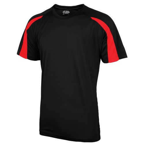 Just Cool Mens Contrast Cool Sports Plain T-Shirt (M) (Jet Black/Fire Red)