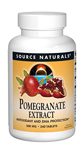 Source Naturals Pomegranate Extract 500mg Complete Whole Fruit Ellagic Acid Antioxidant & Added Fiber - 240 Tablets