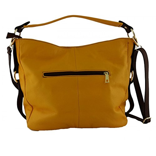 Borsa Donna A Tracolla In Pelle Colore Giallo Marrone - Pelletteria Toscana Made In Italy - Borsa Donna