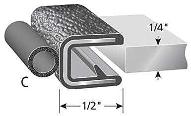 "3//8/"" Bulb Seal Diameter 25/' Length Trim-Lok Trim Seal with Top Bulb Fits 1//16/"" Edge PVC Plastic Trim with EPDM Rubber Bulb Seal"