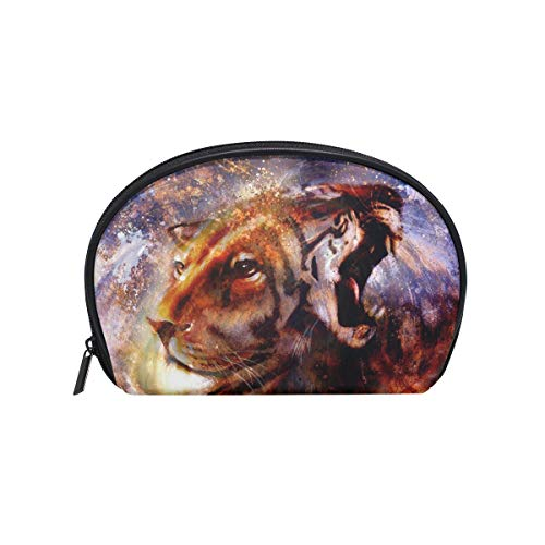 Makeup Bag Abstract Animal Lion Tiger Face Art Cosmetic Pouch Clutch -