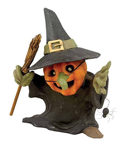 Witchy Pumpkin with Spider Figurine Bethany Lowe New Halloween Decor