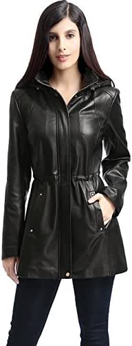BGSD Women's Natalie Lambskin Leather Anorak Coat (Regular and Plus Size and Short)