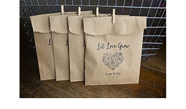 Seeds Favor Bags Wedding Favors Outdoor Send Off 4 x 6 inch Kraft Paper Rustic Bags Seed Toss Love Grows Wild