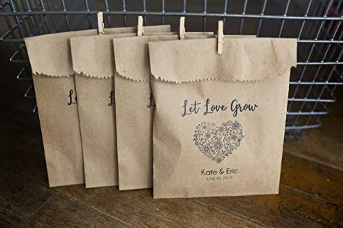 (Let Love Grow - Seed Toss Bags with mini wooden clothespins - Toss Me At the Newlyweds)