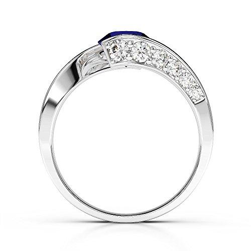 G-H/VS 0,76ct Coupe ronde sertie de diamants et saphir Bague de fiançailles en platine 950Agdr-1209